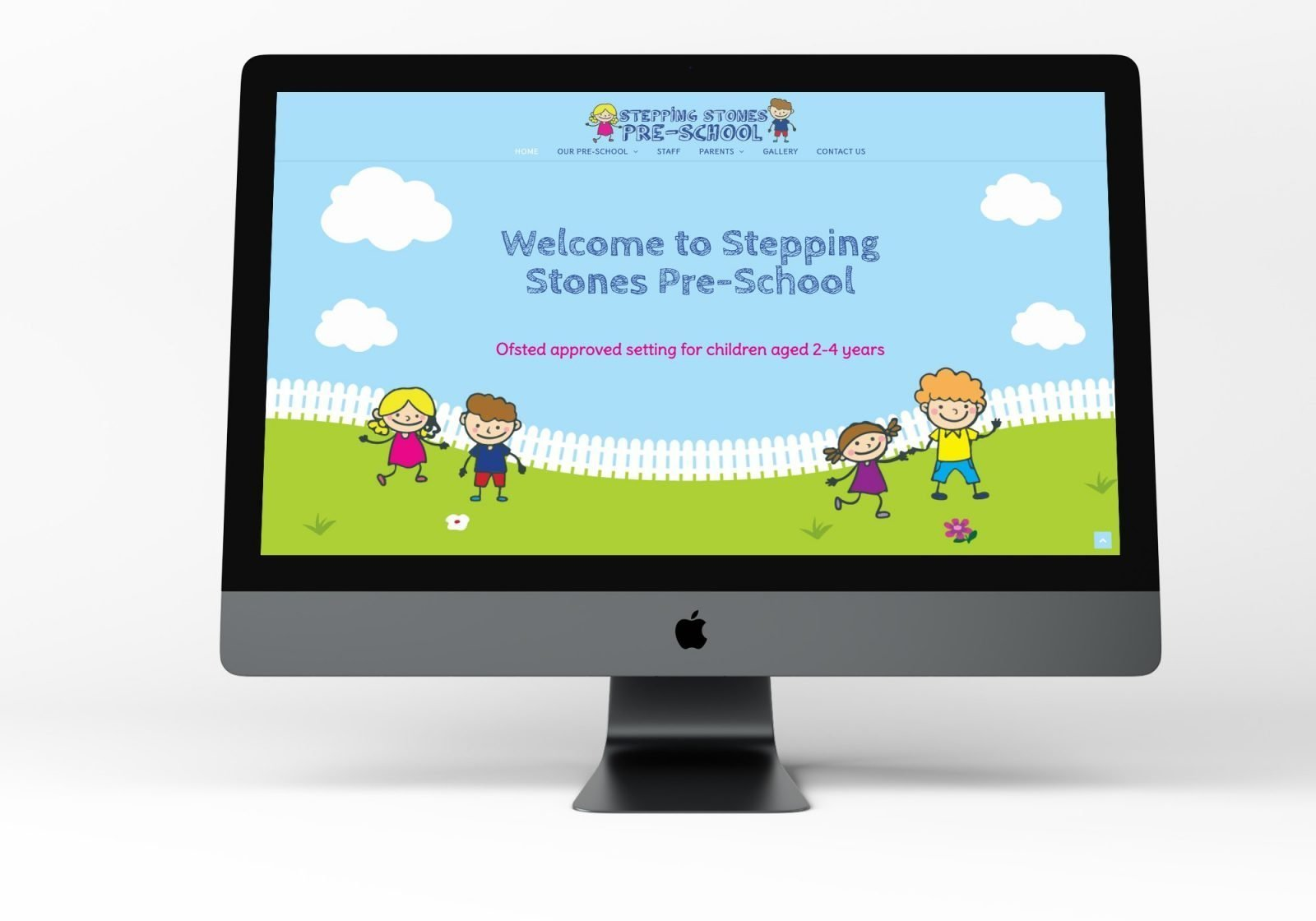 A omputer showing the home page for Stepping Stones Pre-School website design