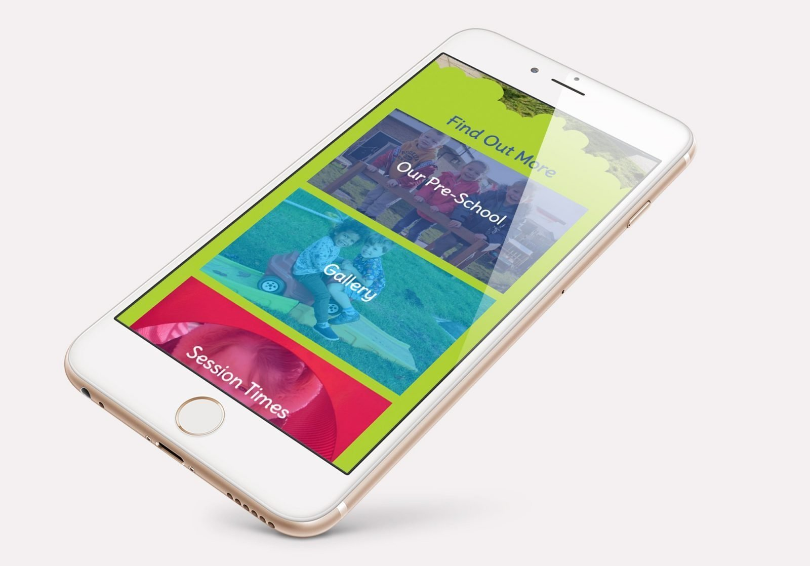 A mobile phone showing the home page for Stepping Stones Pre-School website design