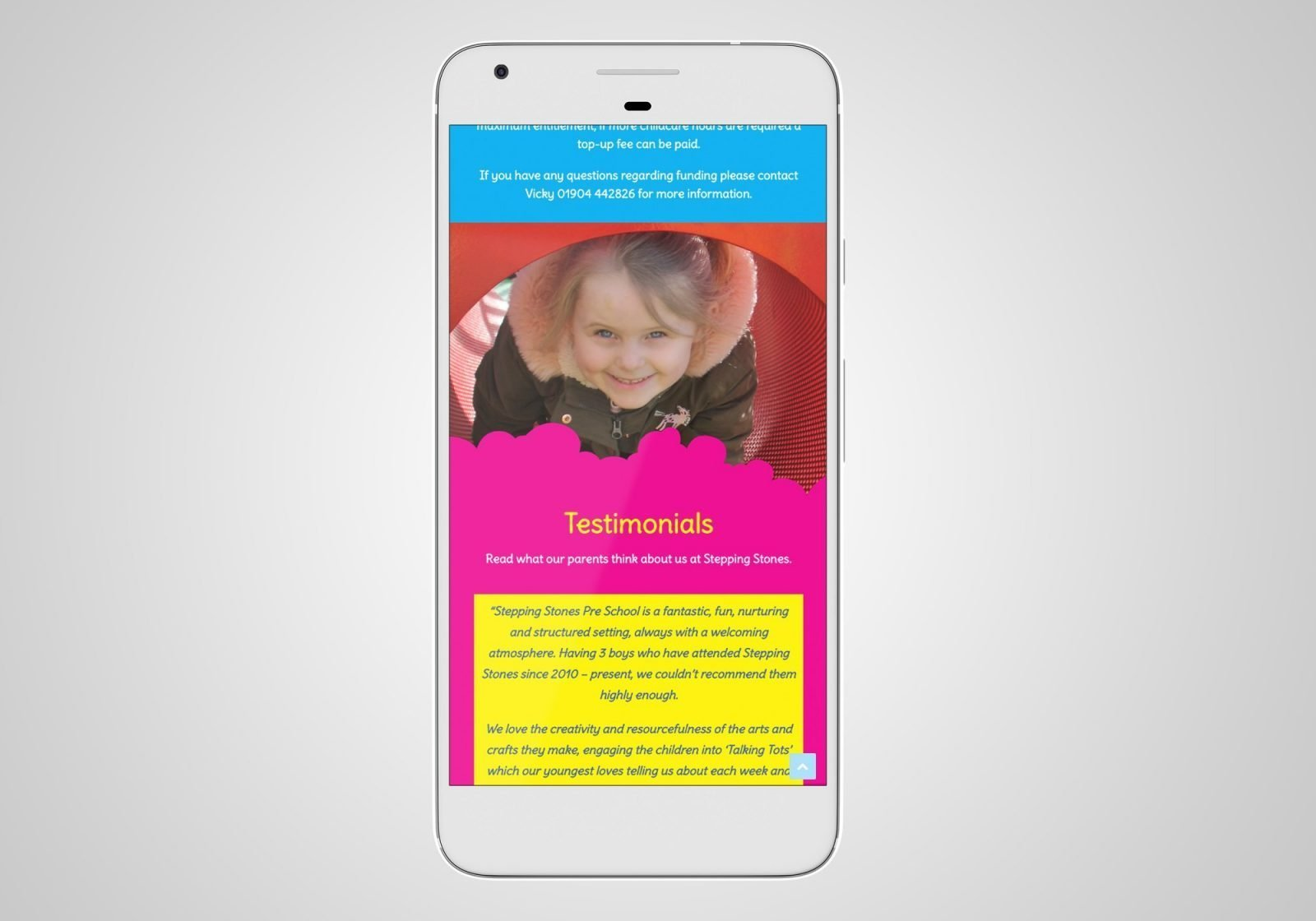 A phone showing the home page for Stepping Stones Pre-School website design