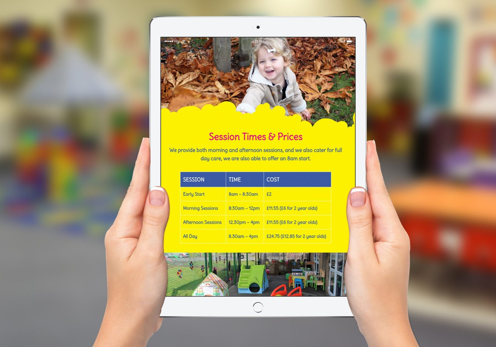 An ipad showing the home page for Stepping Stones Pre-School website design