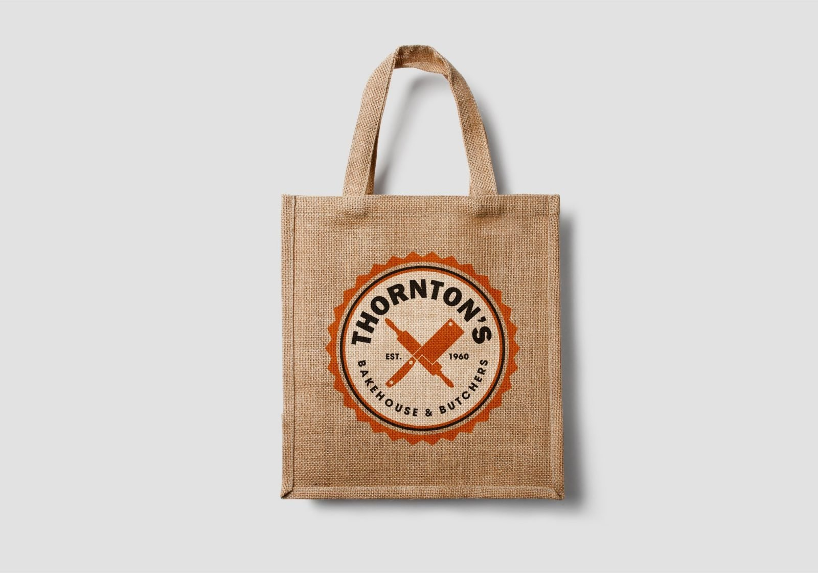 A hessian bag design for Thornton's Butchers and Bakehouse showing the logo