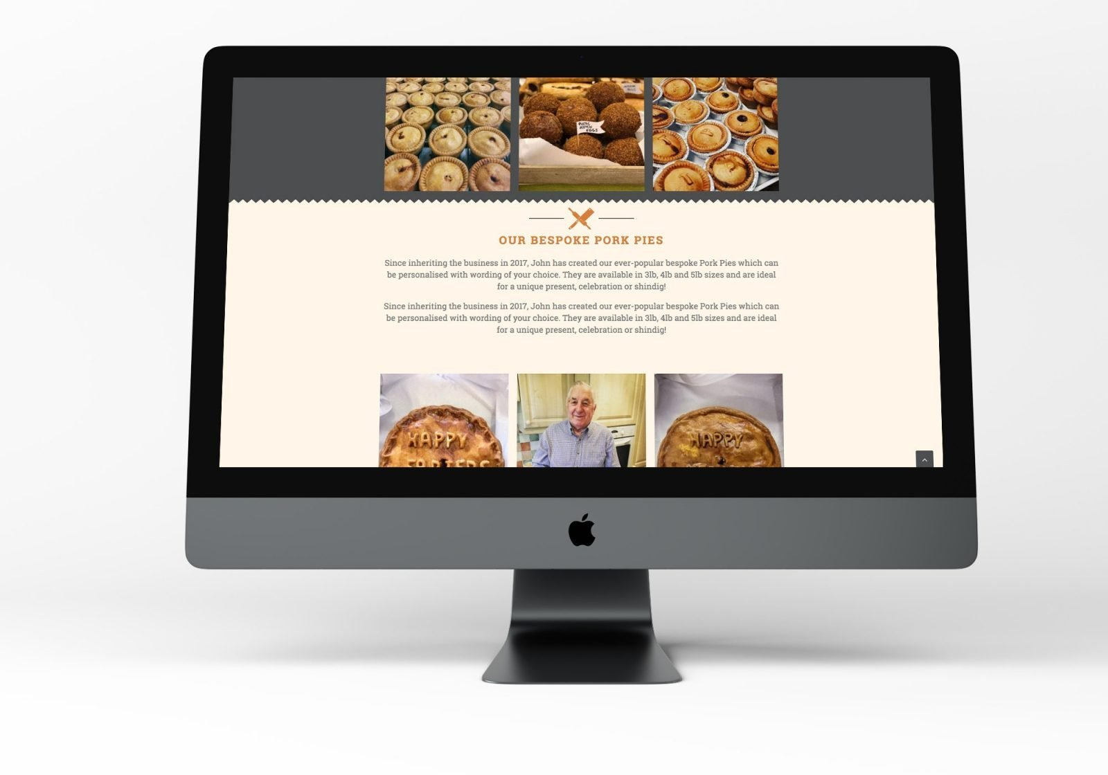 A Computer showing the home page for Thornton's Butchers and Bakehouse website design