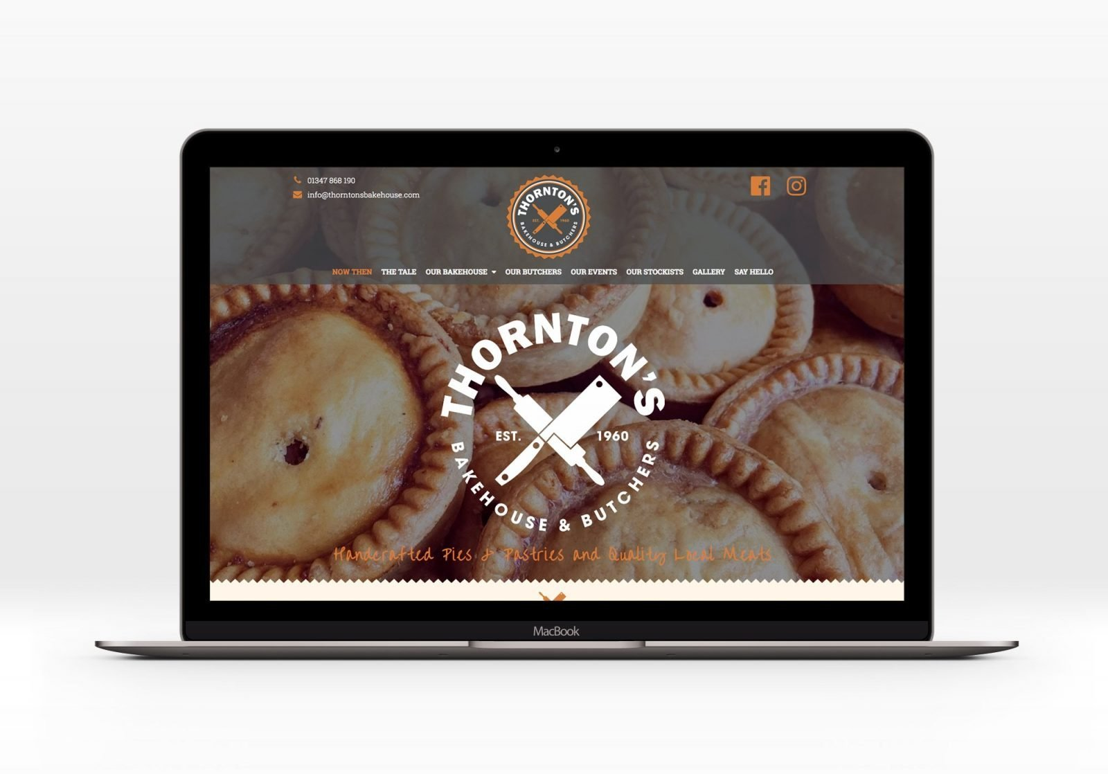 A laptop showing the home page for Thornton's Butchers and Bakehouse website design