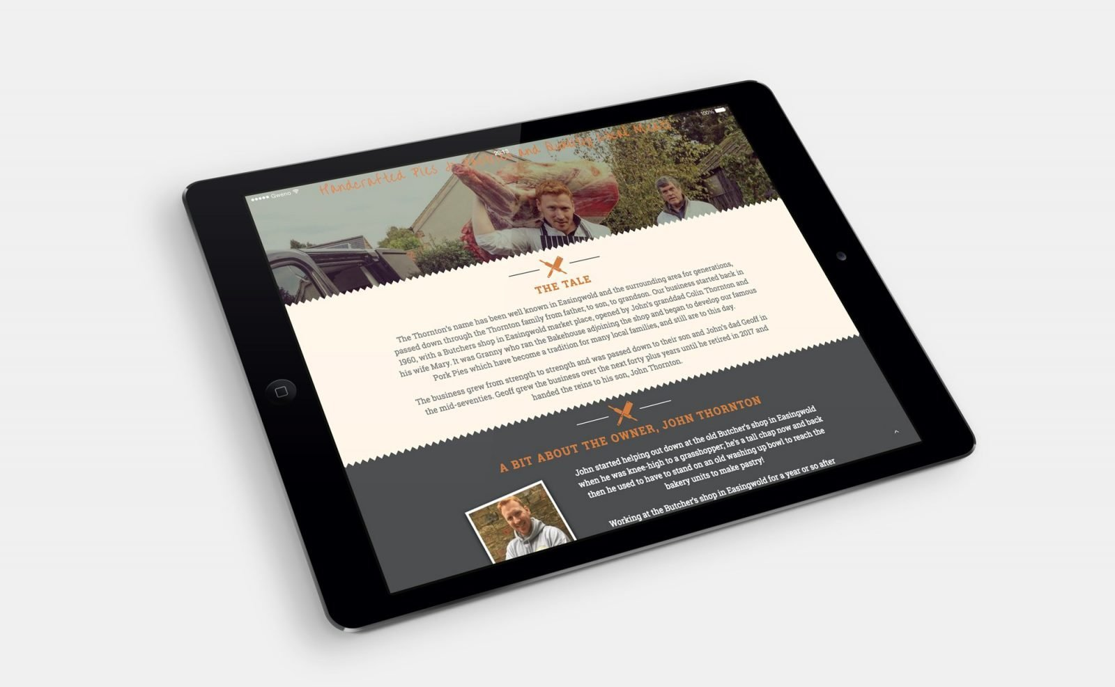 An ipad showing the home page for Thornton's Butchers and Bakehouse website design
