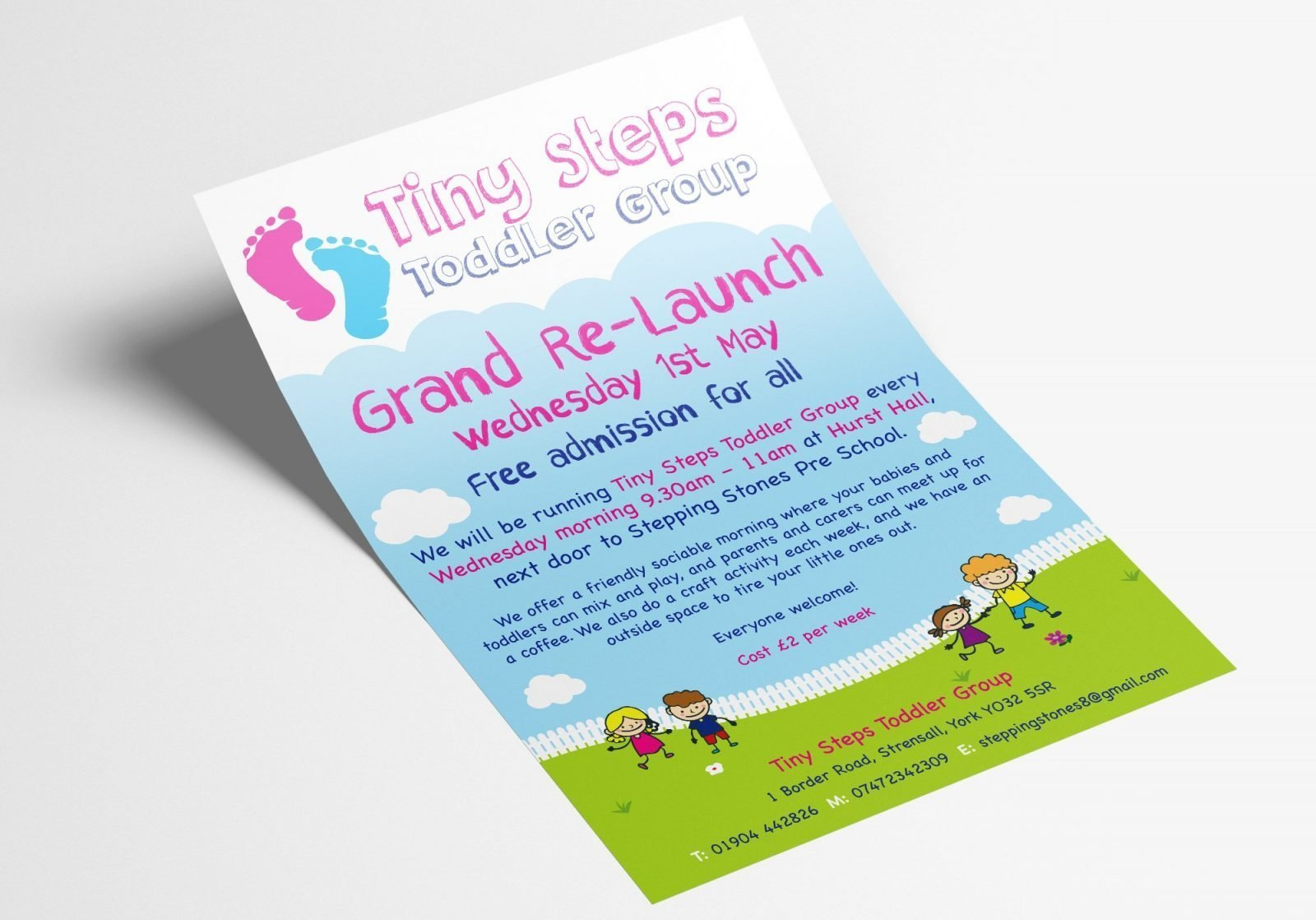 A5 Leaflet for Tiny Steps toddler group grand launch