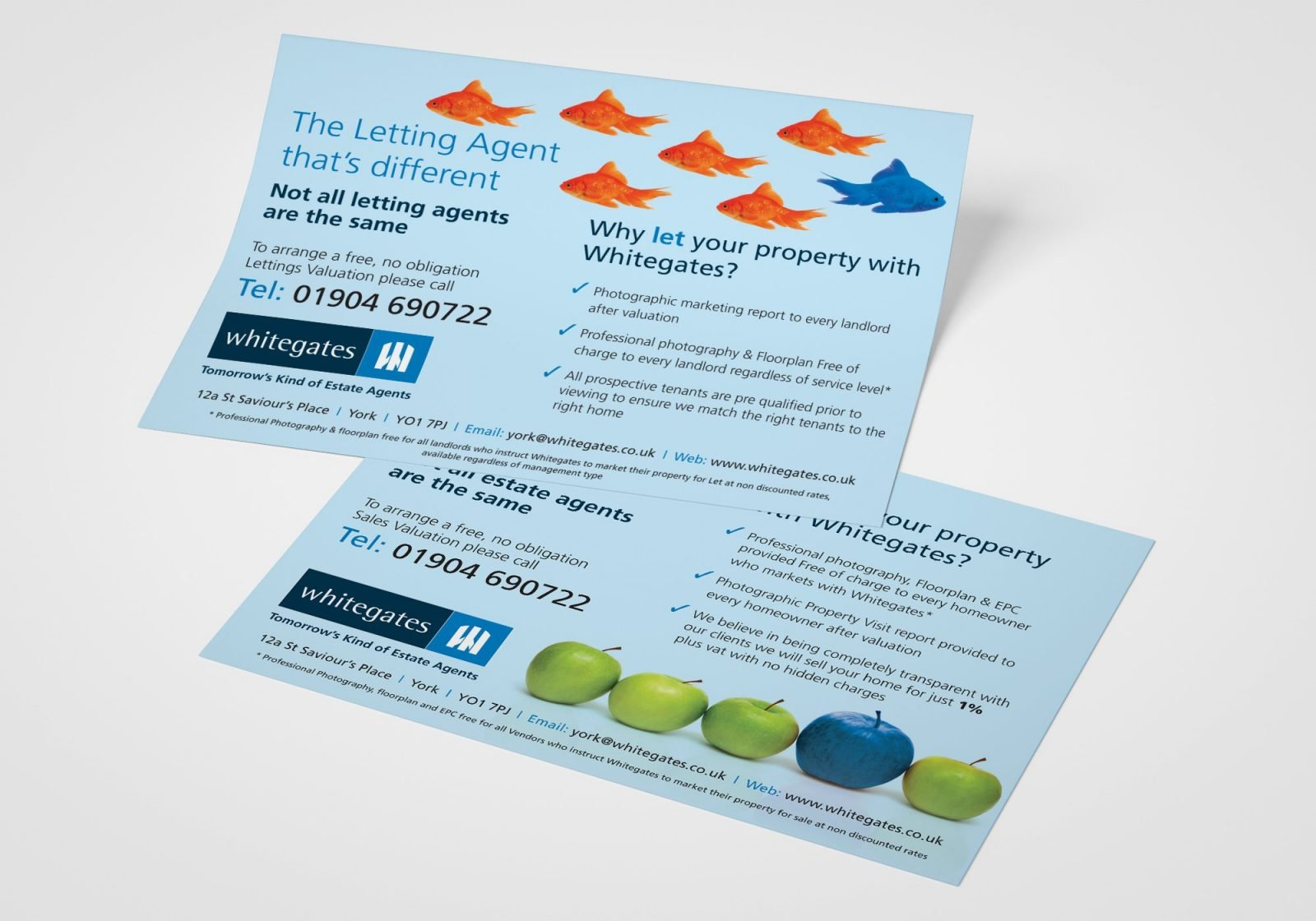A5 double sided leaflet for Whitegates Estate Agents