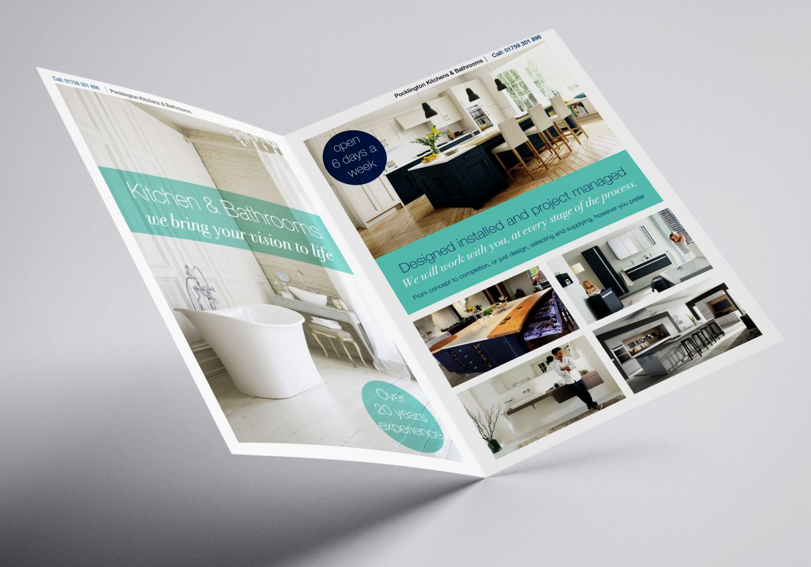 A4 Brochure for Pocklington Bathrooms and Kitchens showing the inside spread showing front and back pages