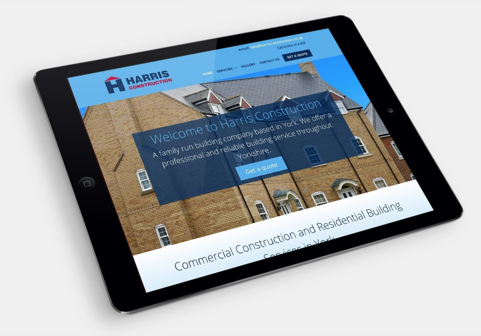 Harris Construction website shown on an ipad