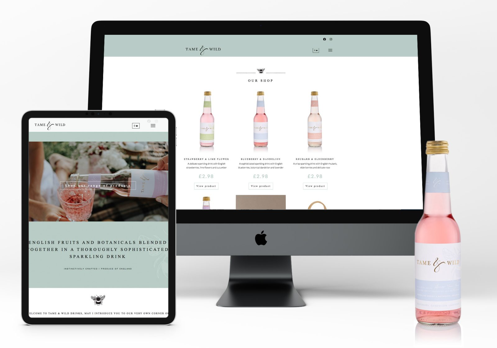 Website for Tame and Wild Drinks showing iMac and ipad