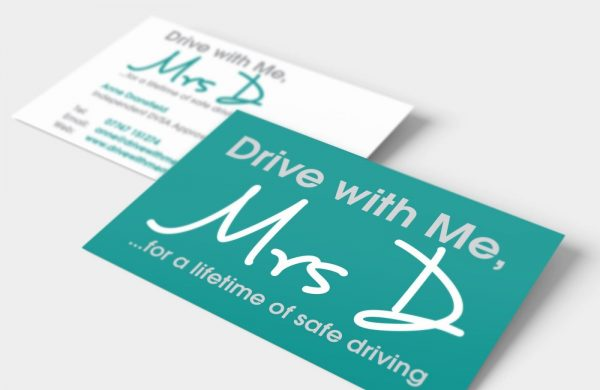 Business card design for driving instructor Drive with me Mrs D showing both sides