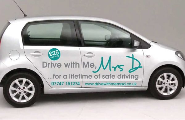 Car graphics on a silver car for driving instructor Drive with Me Mrs D